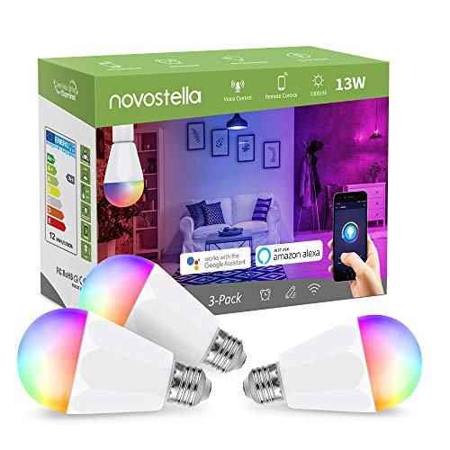 1300LM Lampadina Alexa Smart LED E27 Intelligente WiFi, 120W Lampadina=Novostella 13W LED Multicolore, RGB+Tunable White (2700-6500K), Luce Regolabile Compatibile per iOS Android con Alexa/Google