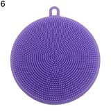 KaariFirefly New Silicone Dish Washing Double Sided Scrubber Kitchen Cleaning Brush Pad Tool - Purple