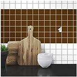 Wandkings Fliesenaufkleber - Wähle eine Farbe & Größe - Braun Seidenmatt - 5 x 5 cm - 50 Stück für Fliesen in Küche, Bad & mehr