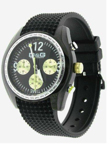 Dolce&Gabbana - DW0309 - Montre Homme - Quartz Analogique - Cadran Noir - Bracelet Caoutchouc Noir