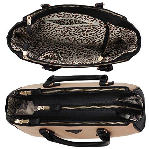 LeahWard Damen Großer Handtaschen 3 Fachtasche Für Frauen Umhängetaschen für Schulferien 00260 (Schwarz Groß) Schwarz/Nude Groß