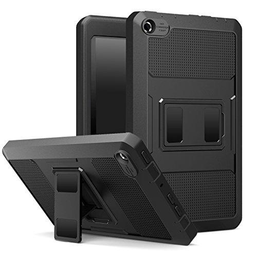 MoKo Fire 2015 7 Zoll Hülle - [Heavy Duty] Anti-Schock Dual Layer Case Schutzhülle Bumper mit Standfunktion und integriertem Bildschirmschütz für Amazon Fire Tablet (Vorherige 5th Generationeration - 2015 Modell), Schwarz