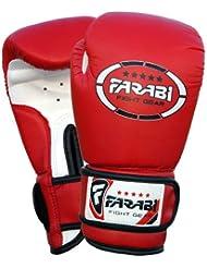 Farabi Sports - Guantes de boxeo para niños (piel sintética, 113 g), color rojo