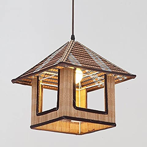 GQLB the Bamboo Chandelier Creative Japanese Tatami Floor Lamp Light Chandeliers (300*300Mm), Balcony Cafe Warm