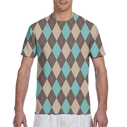 (klein) Argyle Grain Brown, Golf Green, Sattel Brown_1911 Fashion Herren Rundhals Design Kurzarm Slim Fit Freizeit T Shirt XXXL - Argyle Golf Shirt