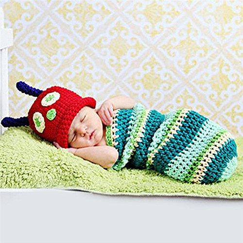 Caterpillar Foto Stützen Häkelarbeit Kokons Beanie für neugeborenes Baby Säugling (Caterpillar-kostüme)