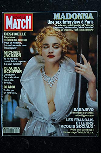 PARIS MATCH N° 2283 1993 COVER MADONNA SEX-INTERVIEX A PARIS MICHAEL JACKSON CLAUDIA SCHIFFER S. MARCEAU HELENE ET LES GARCONS - Sex Madonna