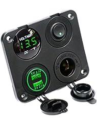 Tkstar double prise USB chargeur 2.1A et 2,1A + LED Voltmètre + Prise d'alimentation 12V + on/off Interrupteur à bascule Panneau de quatre fonctions pour voiture bateau marine RV Camion Camper Véhicules GPS mobiles Juc4