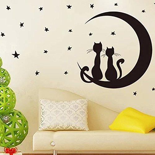 ufengke® Schöne Katzen Mond Sterne Wandsticker, Kinderzimmer Babyzimmer Entfernbare Wandtattoos Wandbilder
