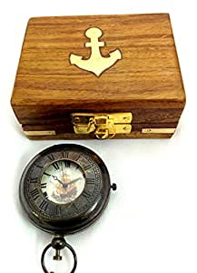 Artshai beautiful pocket watch with chain and wooden box.Antique style pocket watch