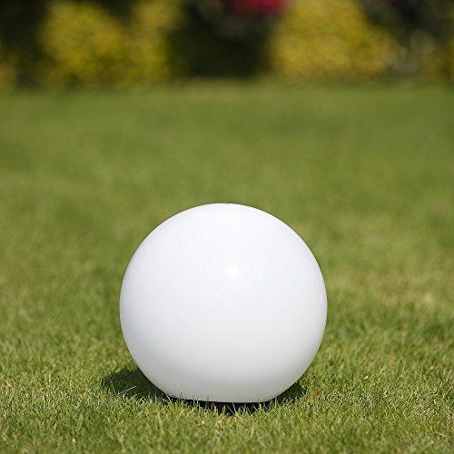 Kugelleuchte 25 cm Ø, weiße Gartenlampe, Außenleuchte, schöne strahlend schöne Deko für Innen & Außen, Gartenbeleuchtung, Gartenkugel für Energiesparlampen E27 & LED - 230 V & 15W, Kugellampe mit IP44