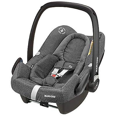 Maxi-Cosi Rock Babyschale, sicherer i-Size Baby-Autositz, Gruppe 0+, nutzbar bis 12 Mon.,passend für FamilyFix One-Isofix Basisstation, sparkling grey (grau)