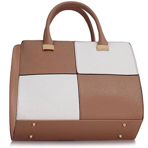 TrendStar Damen Der Frauen-Handtasche Umhängetaschen Konstrukteur Mode Promi-Stil Kunstleder Nude/Weiß Handtasche