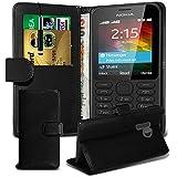 LOLO® Nokia 215 / 215 Dual Sim Hülle Premium Leder Brieftasche Flip Cover im Buch Style mit Ausziehbarer Stylus Pen - Schwarz