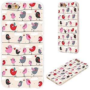 iPhone 6s Case,iPhone 6 Case,VoMotec [Original series]Shockproof Anti-scratch Slim Flexible Soft TPU Protective Skin Cover Case For iPhone 6 6s 4.7 inch,cute red pink cartoon birds