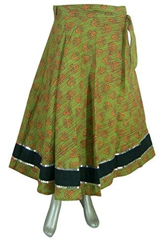 Baumwoll Designer Wickelrock Indien Damen Kleidung Grün