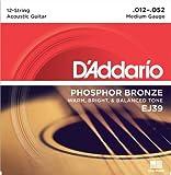 D'Addario EJ39 Saitensatz für 12-Saiter Akustikgitarren 0,03 cm - 0,13 cm (.012 - .052 Zoll)