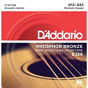 D'Addario EJ39 Phosphor Bronze Medium  (.012-.052) 12-String Acoustic Guitar Strings