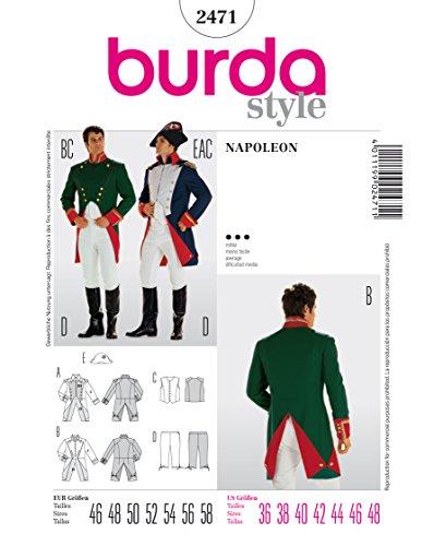 Burda 2471 Schnittmuster Kostüm Fasching Karneval Napoleon Offizier (Herren, Gr. 46 - 58) Level 3 (Offizier Kostüme Deutscher)