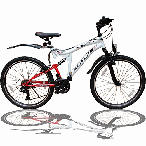 26 ZOLL MOUNTAINBIKE FAHRRAD MIT VOLLFEDERUNG & BELEUCHTUNG 21-GANG SHIMANO OXT WHITE
