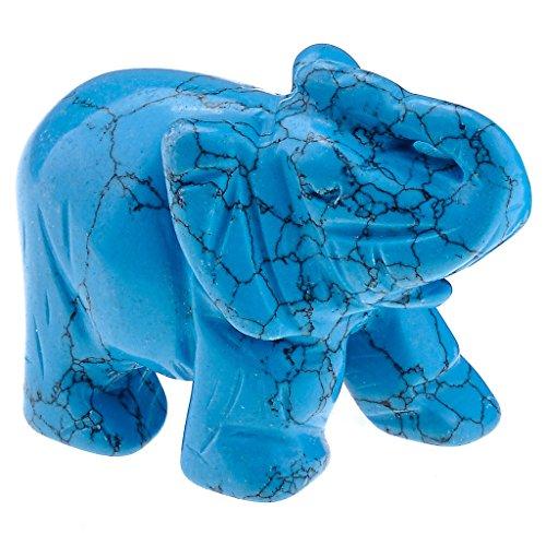 Elefanten-statue Türkis (JOVIVI Deko,Reiki Edelstein Kristall Elefant Figur Ornamente Dekoration Tierplastik Deko Masse LBH: 50x25x36mm,mit Box(Blau Tuerkis))