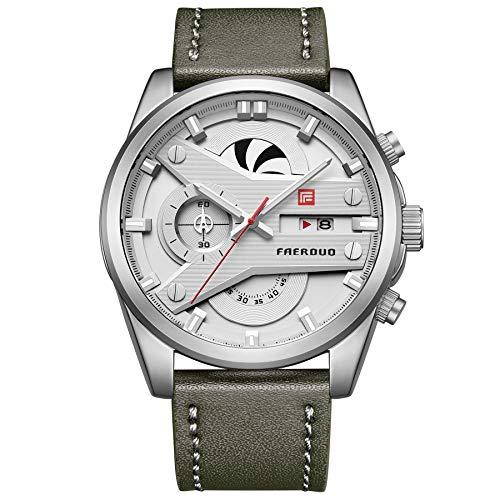 FAERDUO Herren Uhr Chronograph Quarz mit Army Green Leder Armband F8228