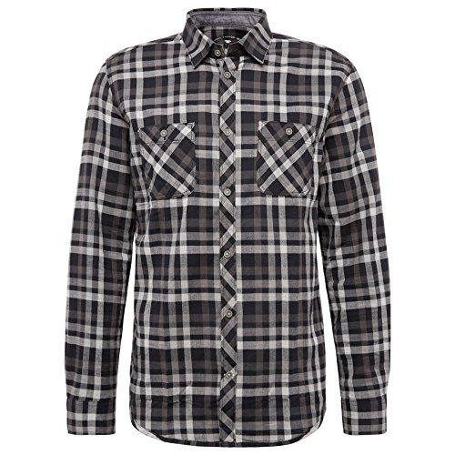 TOM TAILOR Herren Freizeithemd Ray Casual Flannel Check Shirt almost black