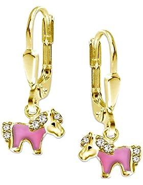 CLEVER SCHMUCK Vergoldete Ohrhänger 20 mm mit kleinem Mini Pony teils rosa lackiert mit vielen Zirkonias STERLING...