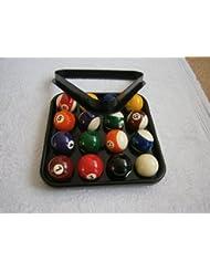 IQ Pool - Juego de bolas de billar, triángulo y bandeja de plástico (bolas numeradas rayadas y lisas, para 15 bolas de 5cm)