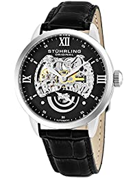 Stuhrling Original Executive II Men's Automatic Watch with Black Dial Analogue Display and Black Leather Strap 574.02