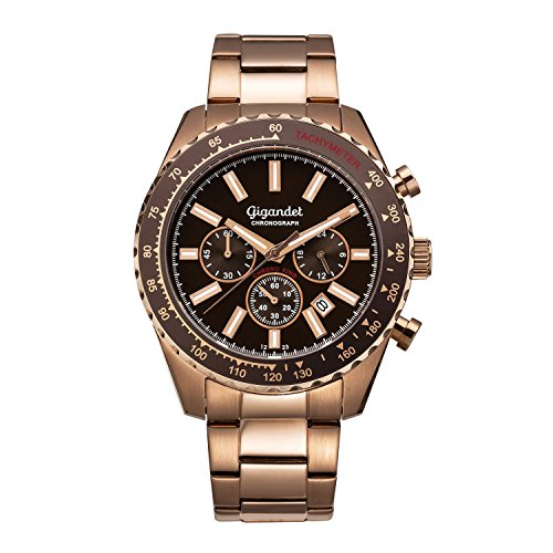 Gigandet Chrono King Men's Analogue Wrist Watch Quartz Chronograph Rosegold Brown G28-010