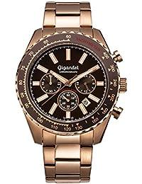Gigandet Quarz Herren-Armbanduhr Chrono King Chronograph Uhr Datum Analog Edelstahlarmband Rotgold Braun G28-010