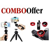 Quail Combo Offer | Mini Tripod YT-228 + Universal 3 In 1 Clip-On Mobile Phone Camera Lens Kit | Tripod With 360 Degree Rotating Ball Head | Mobile Clip Suitable With All Android Or Iphone Devices | Fish Eye Lens , Macro Lens & Wide Angle Lens(suhani