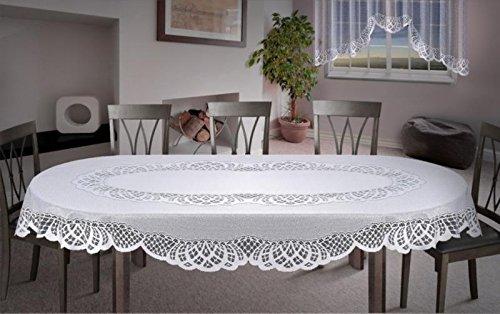 Tovaglia da tavolo di forma ovale in pizzo, grande, colore bianco, di qualità, white, 59