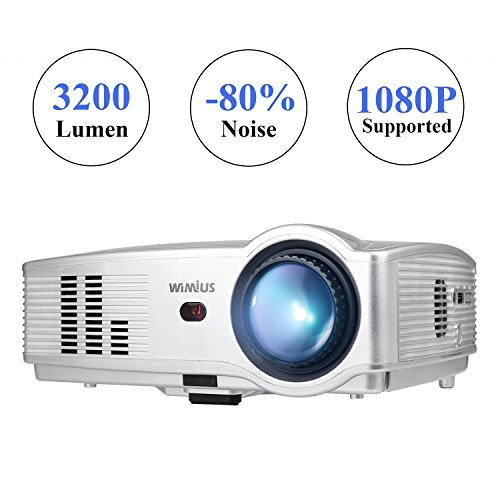 Wimius Modelo T4 (Plata) - Proyector Full HD, Proyector LED 3200 Lúmenes 1080P, Proyector Vídeo Portátil, Projector LCD Home Cinema