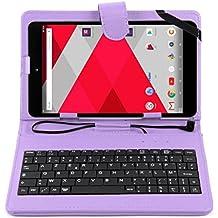 DURAGADGET Etui aspect cuir violet + clavier AZERTY pour CDISPLAY Tablette Tactile 8'' Full HD par Cdiscount et Haier (sortie 2016) + stylet tactile BONUS - Garantie 2 ans…