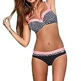 OverDose Damen Padded Push-Up-BH Dreieck Bedruckte Schlinge Bikini Set Badeanzug Badeanzug Bademode Beachwear Badeanzüge(Rosa,XXL)