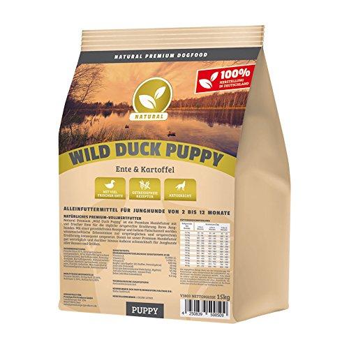 Hundeland Natural | Wild Duck Puppy | 15 kg | Ente + Kartoffel | getreidefreies Hundefutter | Trockenfutter für alle Hunderassen | viel frisches Fleisch | artgerecht & besonders gut verträglich