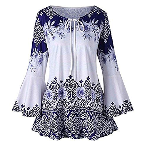 Dichter Tunika Top (SHE.White Damen Große Größe Blumendruck Horn Langarmshirts Sommer Casual Tunika Tops Lose Riemchen Pullover Oberteile T-Shirts S-5XL)