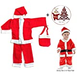HALO NATION Christmas Dress Santa Claus Costume For Children (For Ages 2 To 3 Years) With Christmas Tree And A Cute Santa FIgure