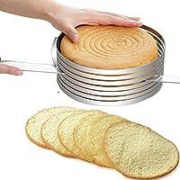 lzndeal Cercle à Gâteaux à Trancher Mes Beaux Gâteaux le moule de mousse réglable en acier inoxydable(argent) 15-20cm/6''-7.9''