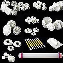 Uten 46pcs Kit de Herramientas de Decoración de Pasteles / Cortadores de Galletas / Utensilios Moldes de Formas Diferentes con Rodillo para Decoración de Tartas de Fondant, Arcillas de Artesanía, DIY Mazapán