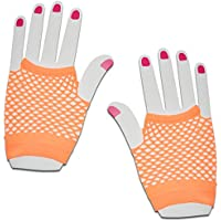 SHORT FISHNET HAND GLOVES PARTY FANCY DRESS TUTU (Orange)
