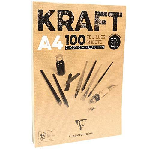 Clairefontaine 96545c blocco incollato kraft, a4, 100 fogli, marrone, carta, 21 x 29,7 cm