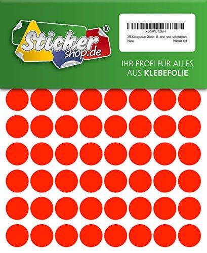 288 Klebepunkte, 20 mm, Markierungspunkte, Punkt, PVC, Vinyl, Folie, Neon, rot, leuchtend, rund, selbstklebend (Kreis Rot Leuchtet)