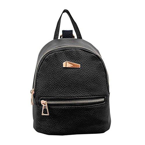 Kafe Damen Taschen Loveso Mädchen Frauen Einfache Stil Künstliche Leder Mini Rucksack Handtasche (Schwarz) (Rucksack Mini Mädchen)