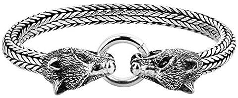 """KUZZOI """"Buddha"""" Silber-Armband für Herren, handgefertigtes Panzer-Armband aus echtem, massiven 925er Sterling Silber, luxuriöses Herren-Armband mit Wolfs Verschluss, 7mm breit, 68g schwer 335115-019"""