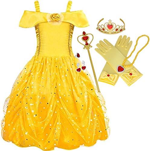 IWFREE Mädchen Belle Kostüm Prinzessin Kleid Cosplay Geburtstag Halloween Faschingskostüm Festkleid Fancy Dress Up Belle Kleider Kostüm Party Prinzessin