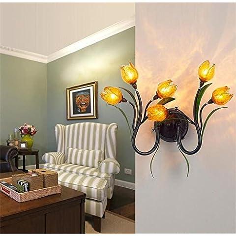 minimalista hierro forjado estadounidense lámpara de pared creativa retro rústico