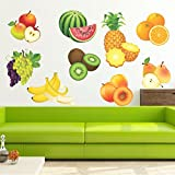 StickMe 'Colourful Fruits Wall Sticker' - SM 408 ( PVC Vinyl - 100cm X 70 Cm )